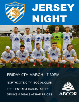 NCFC JERSEY NIGHT FRIDAY MARCH 9