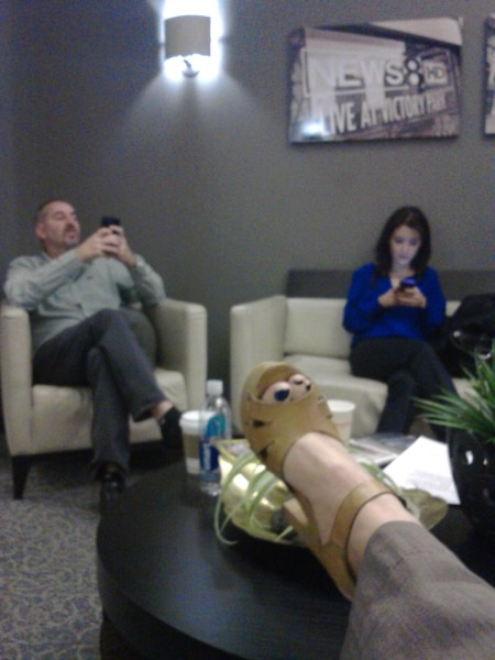 producers Jeff Helton and Courtney Turner in the green room