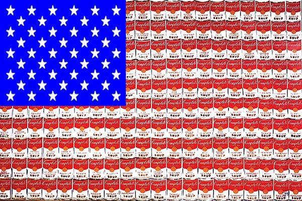 United States of Andy (After Andy Warhol's Campbells soup multiples)