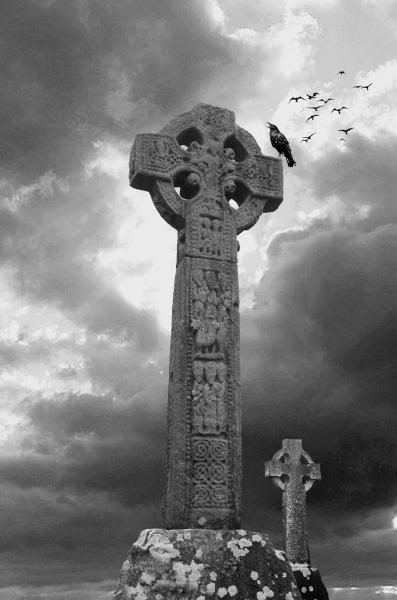 Crows, Ravens, Celtic cross, Graveyard, Murder of crows, Stormy skies.