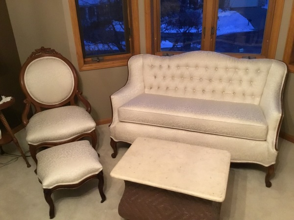 Tufted Settee and antique chair