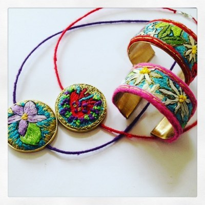 Embroidered cuffs and necklaces