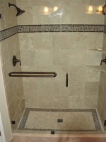 Shower remodel with travertine 12X12 tiles