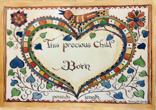 Bird on Heart Birth Certificate