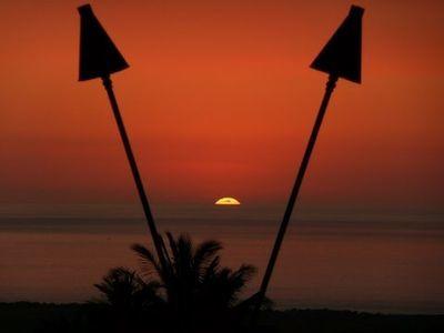 Sunset between Tiki Tiki's!