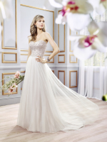 Beaded bodice and soft net destination bridal dress