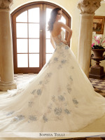 Strapless lace princess a-line ballgown with blue accents