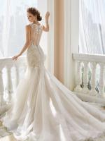 Romantic lace and soft organza mermaid bridal dress
