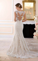 Low sheer back mermaid bridal dress with button detail