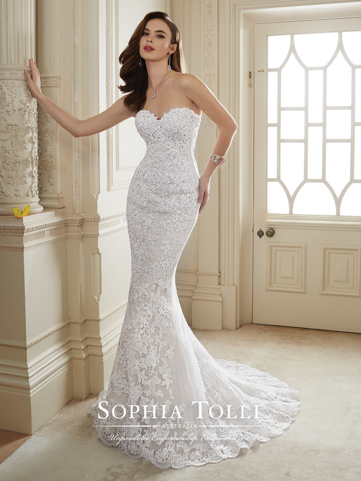 Strapless lace beaded mermaid bridal dress