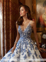 V-neck lace and tulle a-line bridal dress with sapphire blue lace