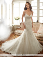 low back bridal dress with sheer straps, sides, and back