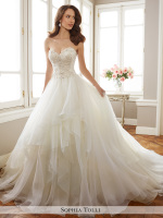 Strapless lace and organza ballgown bridal dress