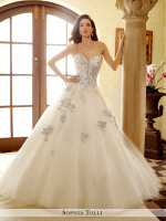 Strapless lace princess a-line with blue accents and sparkling ballgown skirt