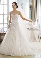 Strapless lace and tulle drop waist ballgown bridal dress