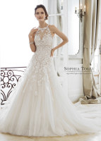 Sophia Tolli Andria bridal dress shown with optional high neck coverlet