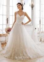 Lace strap and bodice with tulle ballgown wide lace hem bridal dress