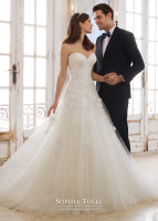 Strapless lace and tulle drop waist bridal dress