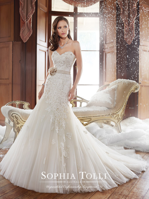 Strapless lace and tulle drop waist fit and flare bridal dress