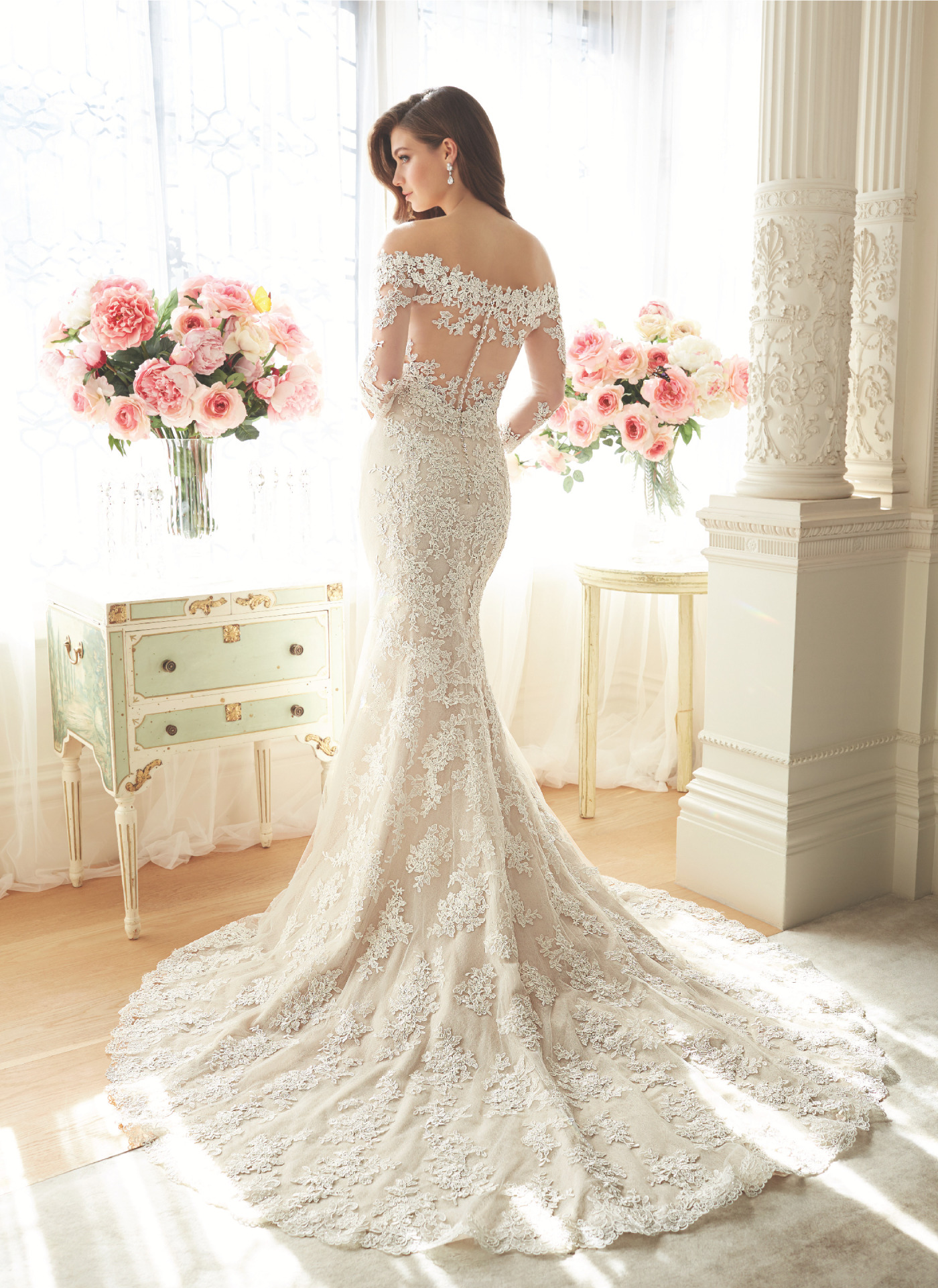 Off shoulder lace bridal dress with sleeves