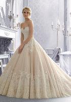 strapless lace ballgown wedding dress