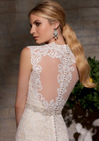 queen anne neckline bridal dress lace fit and flare