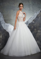 Beaded lace high neck ballgown bridal dress with tulle skirt and sheer bodice
