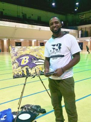 Antonio Moore with Finished Live Painting