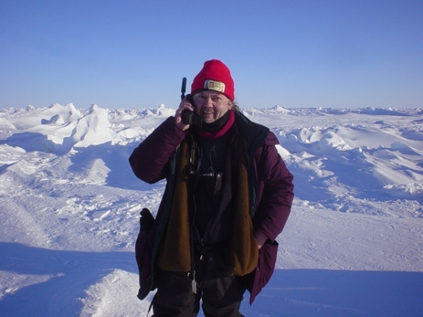 Making a satellite phone call from the North Pole