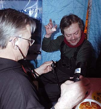 Blood pressure check from Russian doctor at Camp Borneo, 89 degrees North, while drinking vodka (!)