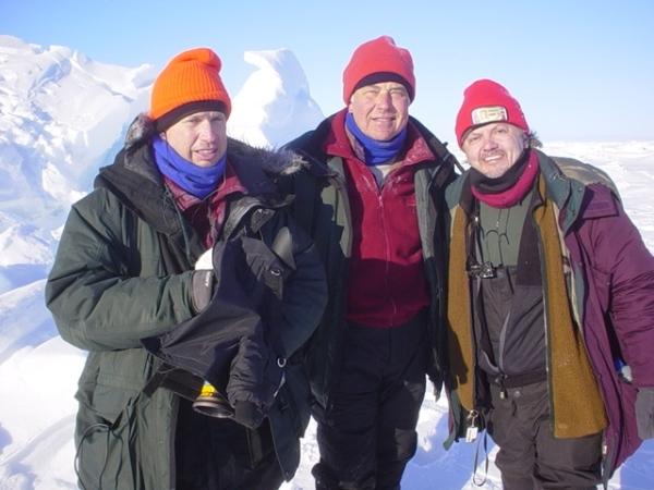 Cameraman Hank Schroeder, Correspondent Jerry Bowen, and Producer Bruce Rheins at the North Pole