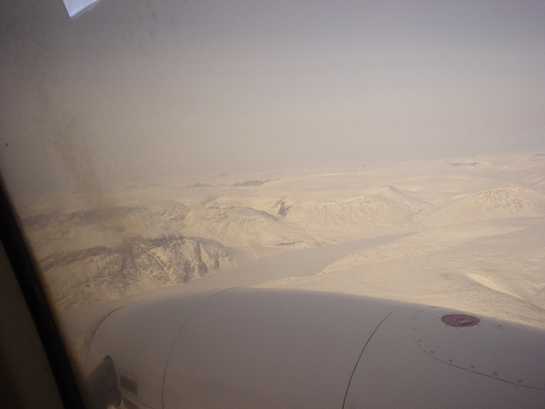 Aerial view choppering to North Pole