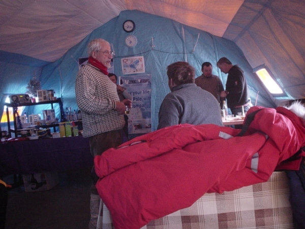 Inside tent at Camp Borneo with NSF and Russian personnel