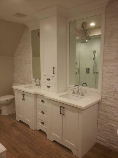 Custom vanity with upper unit