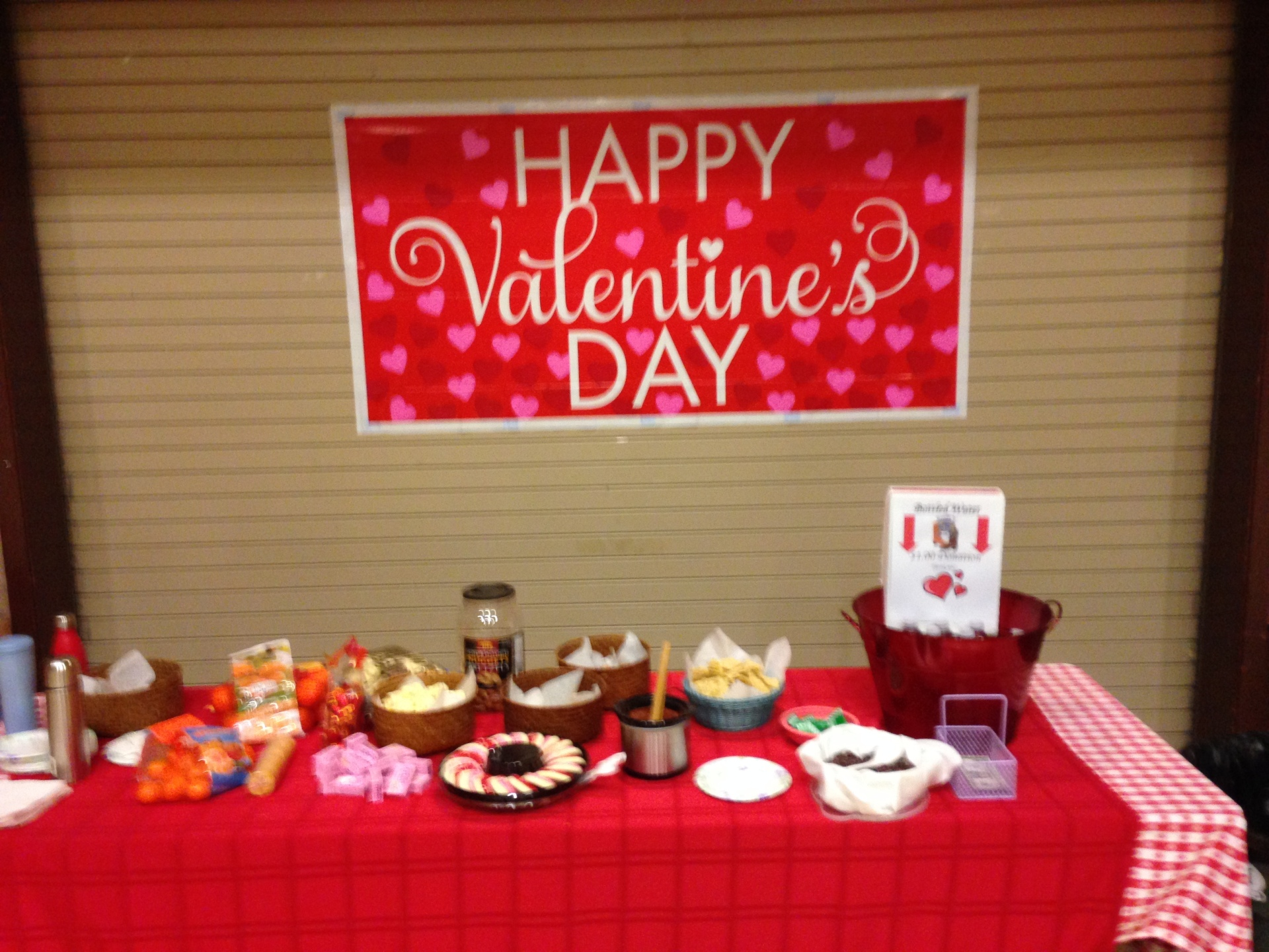 The Valentine's Day food table.