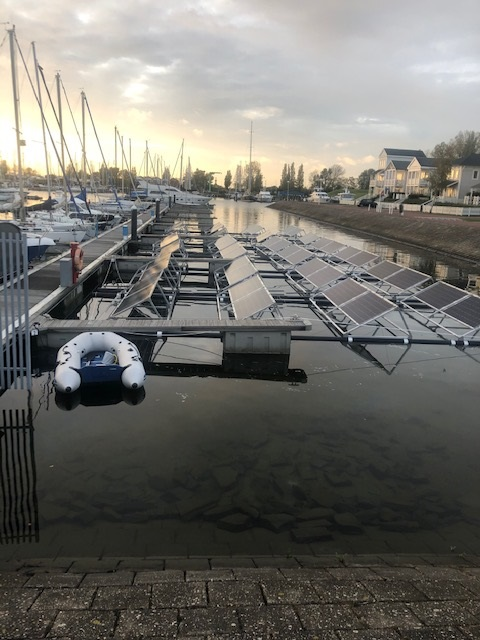 Floating solar panels installed in marina of Hellevoetsluis