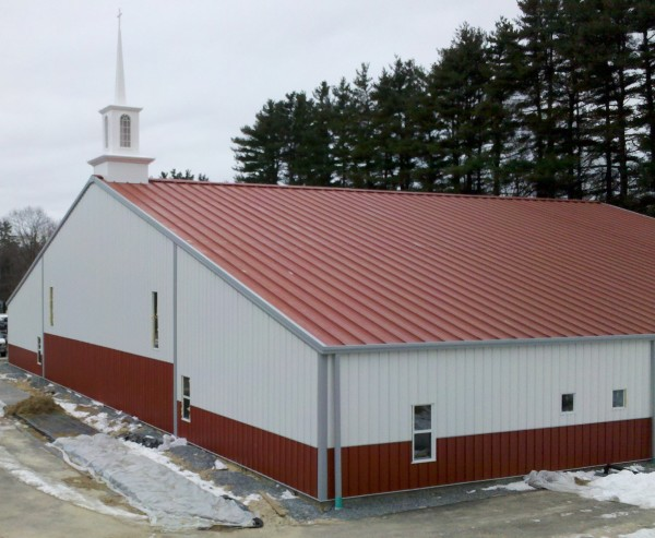 Ohio Steel Construction Church Steel Building with red wainscot wall.  Steel Building Steeple.