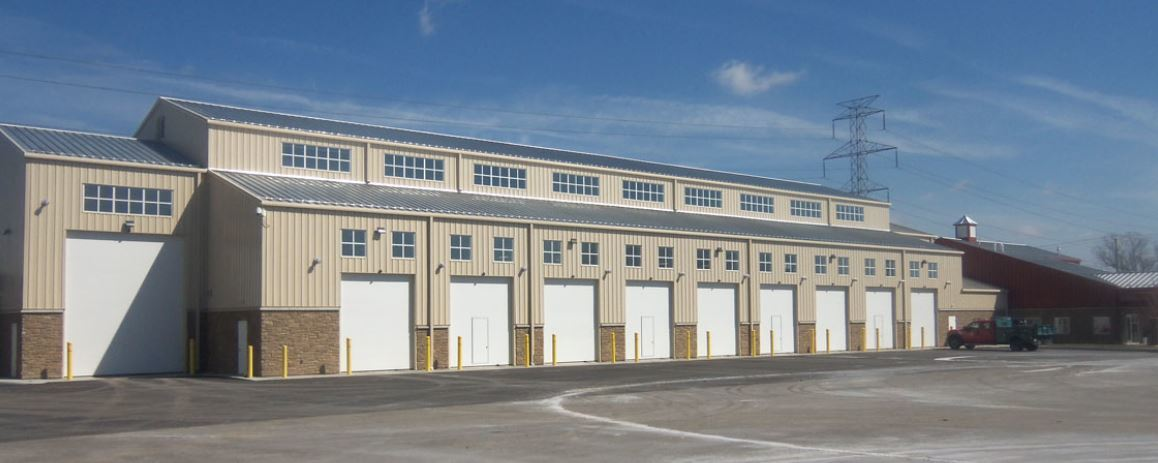Ohio Steel Construction, maintenance facility, repair garage, steel overhead doors, stone facade, steel building, metal building, pre-engineered steel.