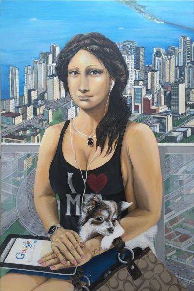 """""""Mona Lisa en Miami""""  2015  24""""x30""""   Oil on canvas   Price: $ 25,000"""