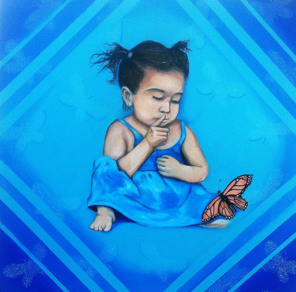"""Las mariposas no hablan"" 2011  24""x24""  Oil pastel on canvas  Price:$7,500"