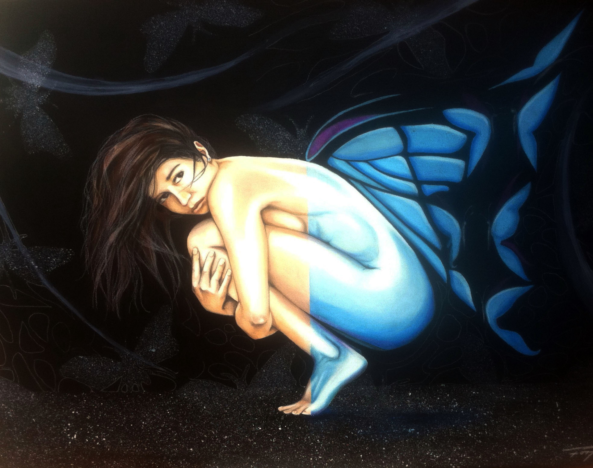 """Por volar antes de tiempo""   2011 40""x30""  Oil pastel on canvas   Private collection"