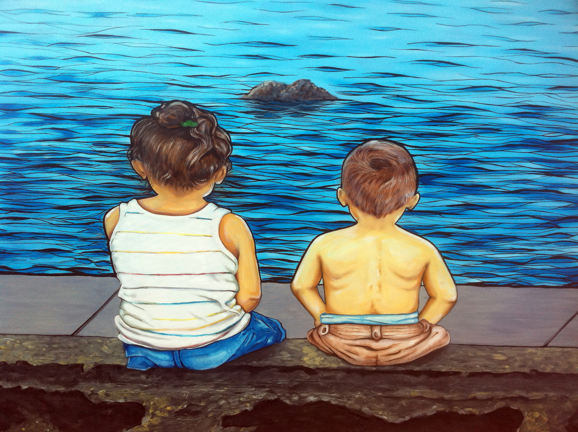 """""""Entre dos aguas"""" 2010  48""""x 36"""" Oil on canvas   Private collection"""