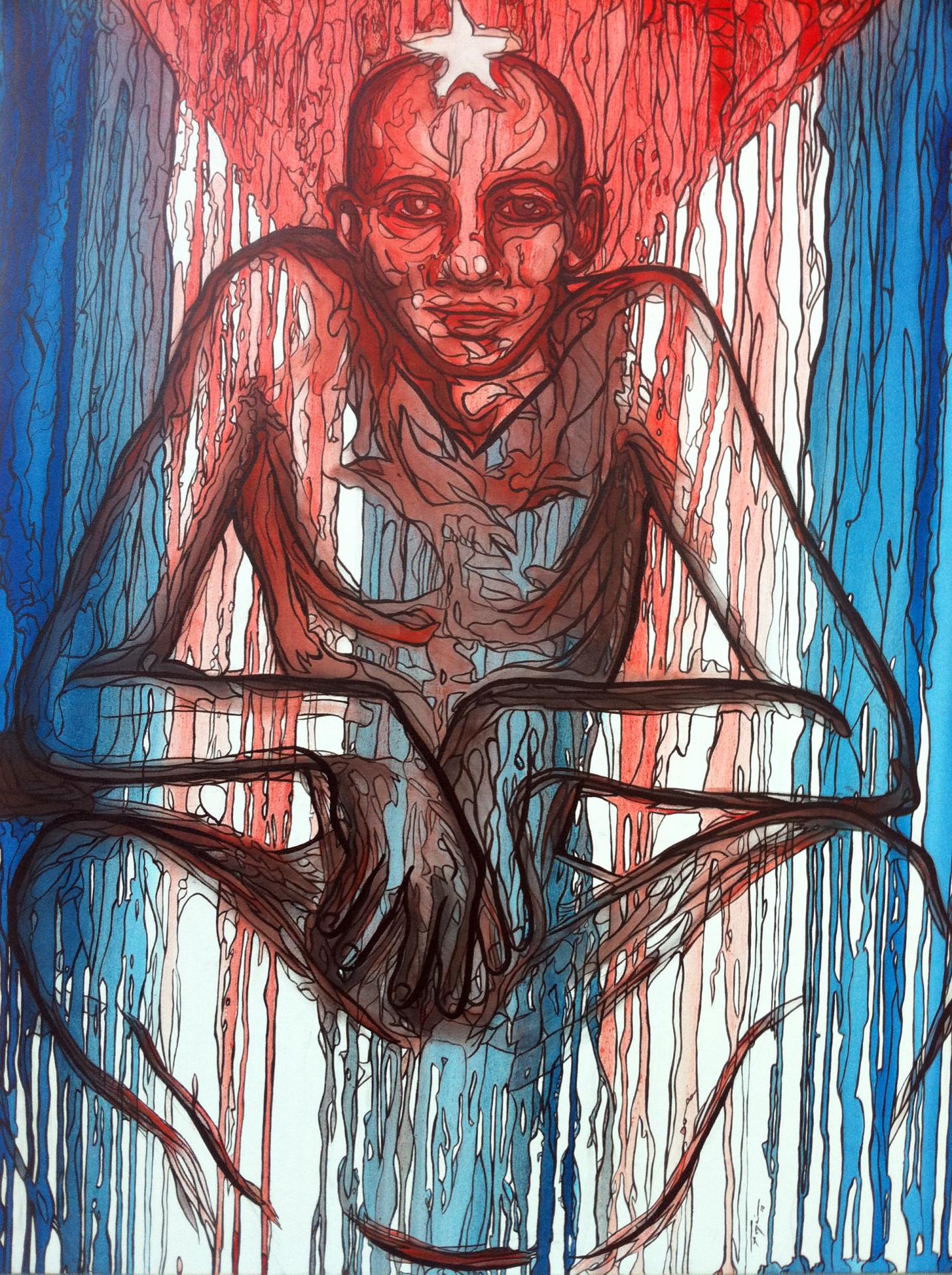 """Que Dios bendiga mi patria"" 2010   30""x 40"" Oil on canvas"