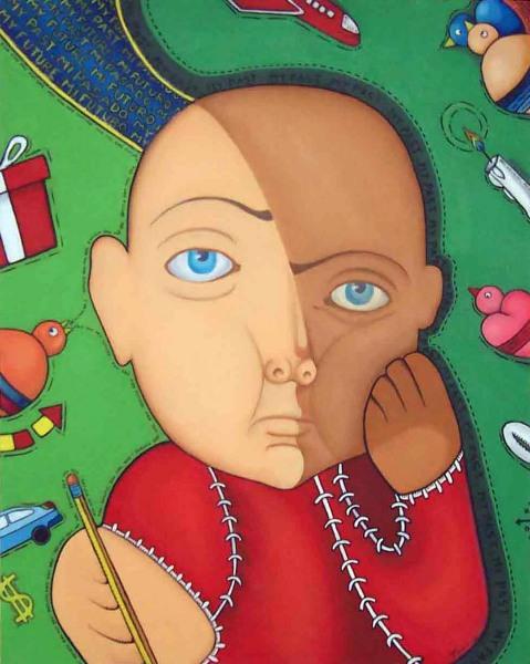 """Pasado y Futuro""  2006  24"" x 30""  Oil on canvas  Private collection"