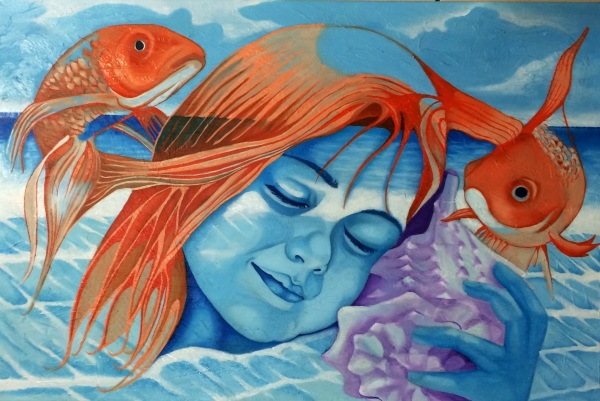 """Musica de mar""  2015  30""x 24""  Oil on canvas  Price "" 12,000"