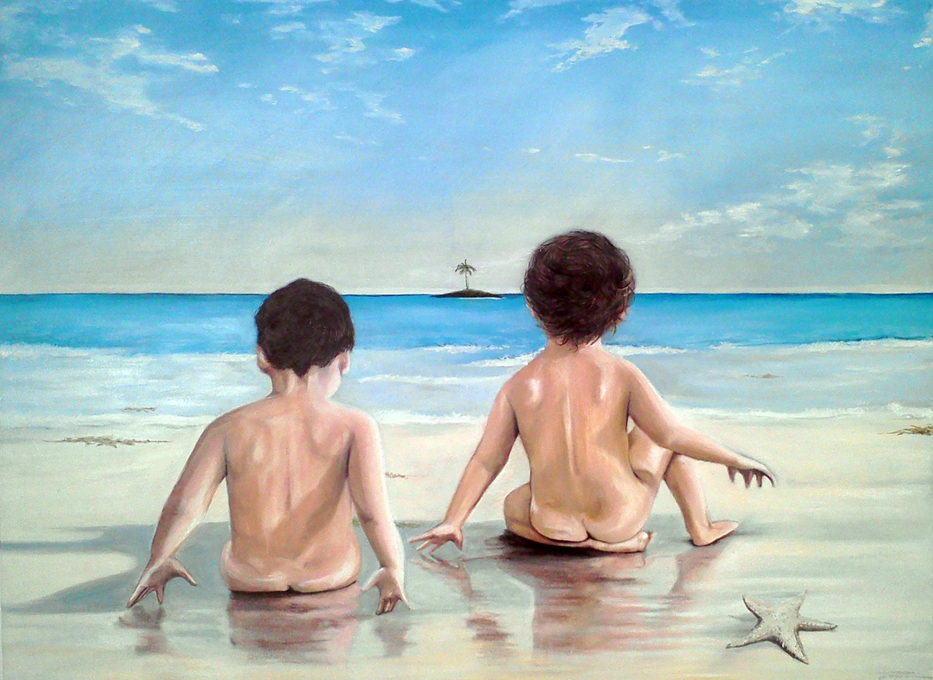 """""""Niños en la playa"""" 2012  40""""x30"""" Oil pastel on canvas"""