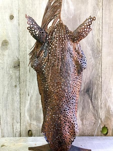 Welded steel horse sculpture, by Rusty Croft