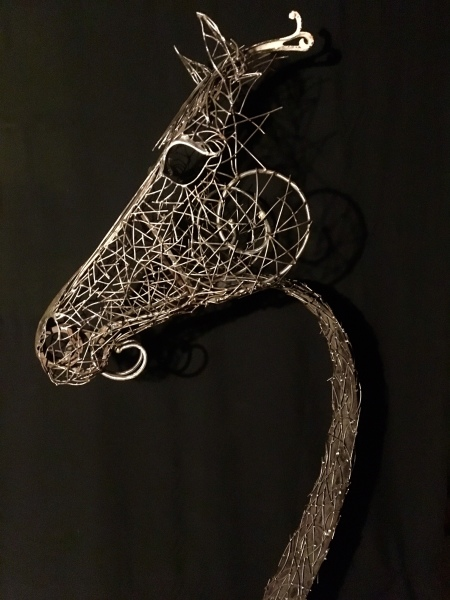 Welded steel horse sculpture, Rusty Croft