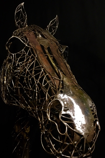 Welded steel horse sculpture, commission from designer, Carmel, Ca. Rusty Croft