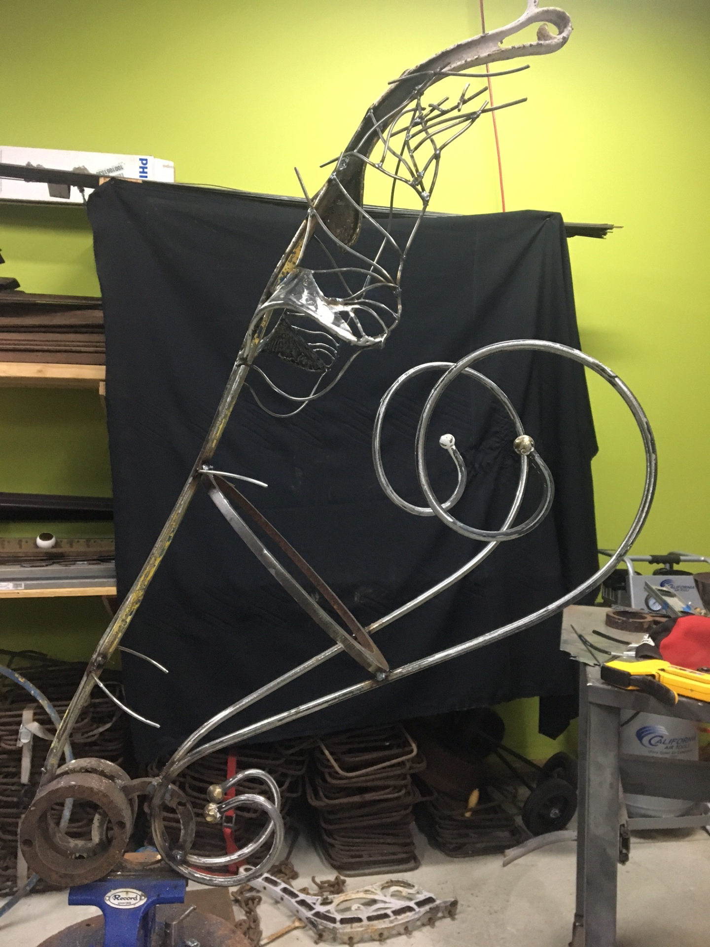 Mig welding horse head sculpture process by Rusty Croft